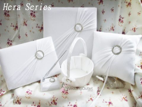 Guest Book, Ring Pillow, Flower basket, Pen Hera Series