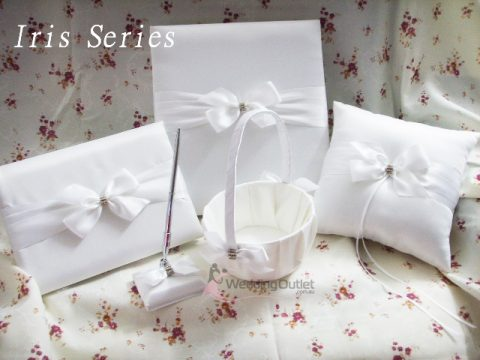 Guest Book, Pen, Ring Pillow, Flower Basket Iris Series