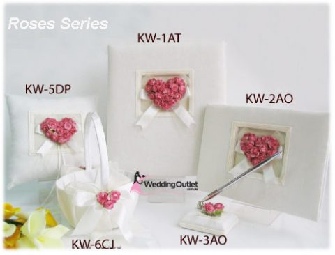 Wedding guest book, ring pillow, flower basket roses series
