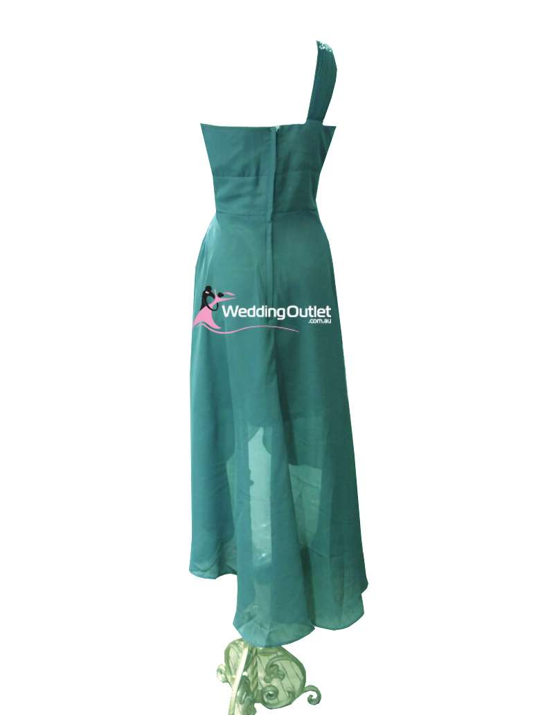 Jade green high low bridesmaid dress style am101 for Jade green wedding dresses