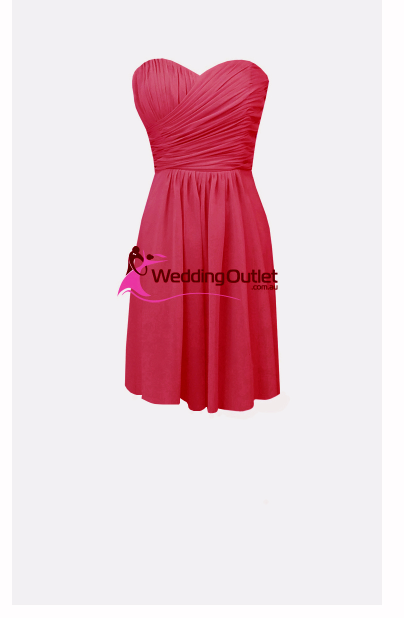 Hot Pink Cocktail Length Bridesmaid Dress Style #AB101