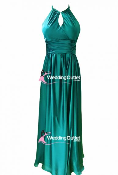 Jade Green Halter Neck Satin Evening Gown Style #AJ101