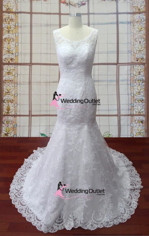 Jules mermaid lace o-neckline bridal gown