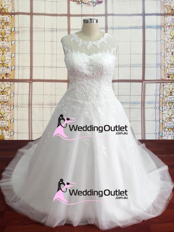 Keely boat neckline lace tulle wedding dress