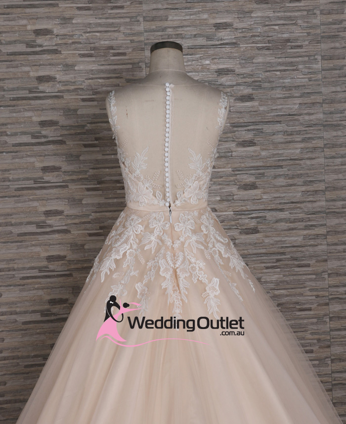 Hannah Princess Champagne Lace Wedding Gown