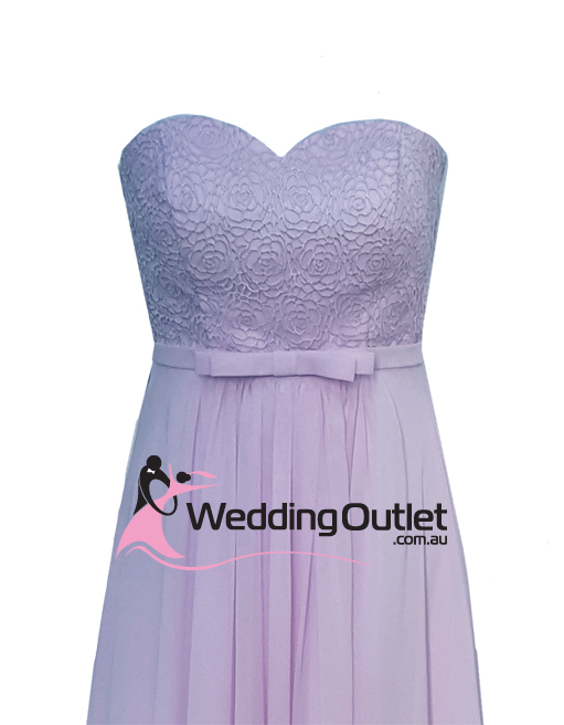 Lavender Purple Strapless Lace Bridesmaid Dress Style #AN101