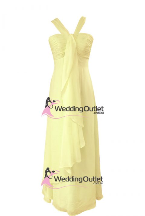 Pale Yellow Halter Neck Bridesmaid Dresses Style #AL101