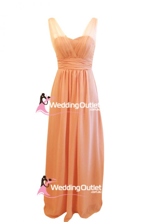 Mandarin Peach Tulle Sleeves Bridesmaid Dresses Style #AK101