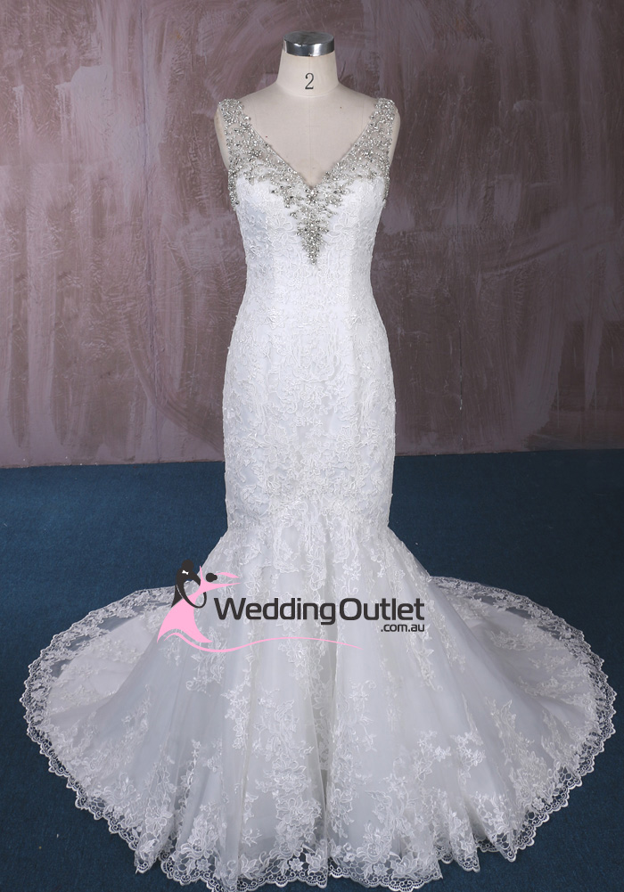 Serena trumpet mermaid lace wedding gown with sleeves for Trumpet mermaid wedding dress with sleeves