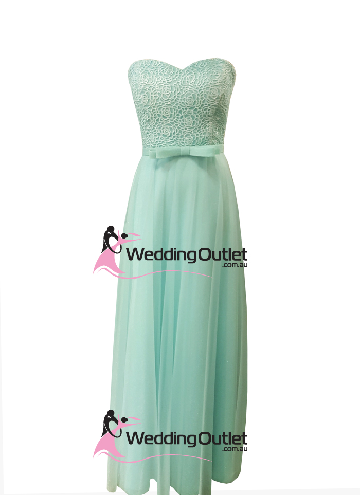 Mint Green Lace Strapless Bridesmaid Dresses Style #AN101