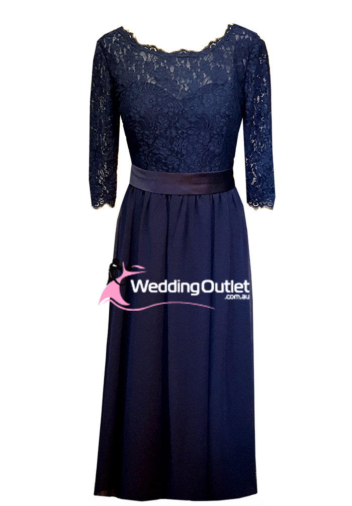 Navy Blue Lace Long Sleeve Bridesmaid or Mother Bride Dress Style #AD1100