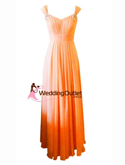 Orange Maxi Bridesmaid Dress Style #A1029