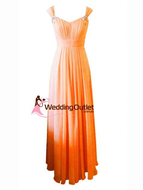 Orange Maxi Bridesmaid Dress Style #A1029