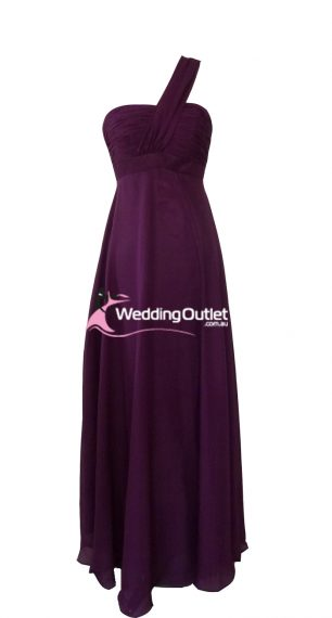 Plum Purple One Shoulder Bridesmaid Dresses Style #B9190