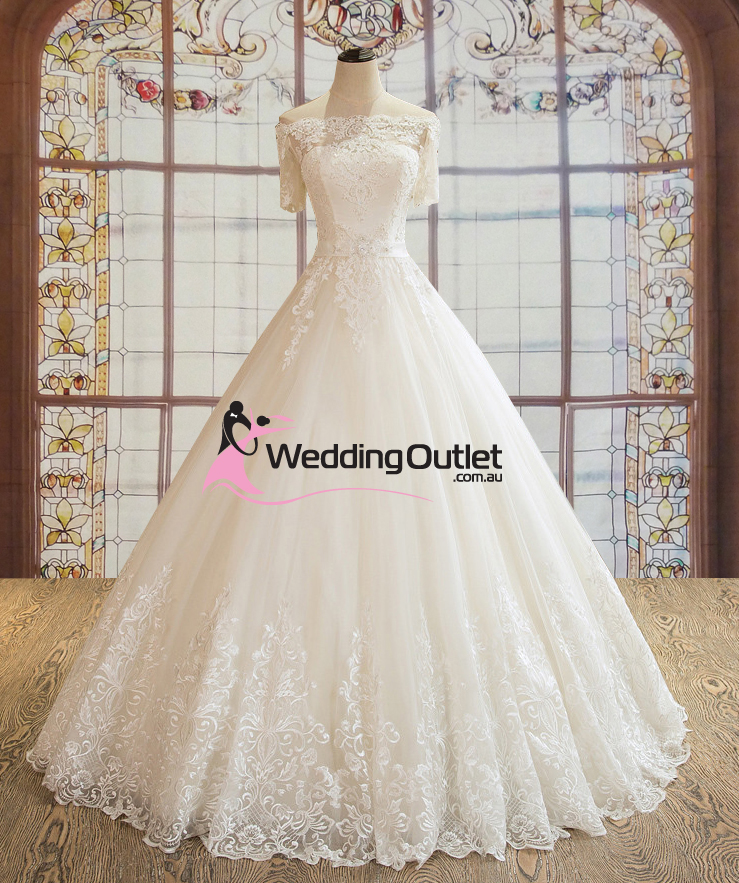 Wedding Gowns Outlet: Paisley Off Shoulder With Sleeves Luxury Wedding Dress