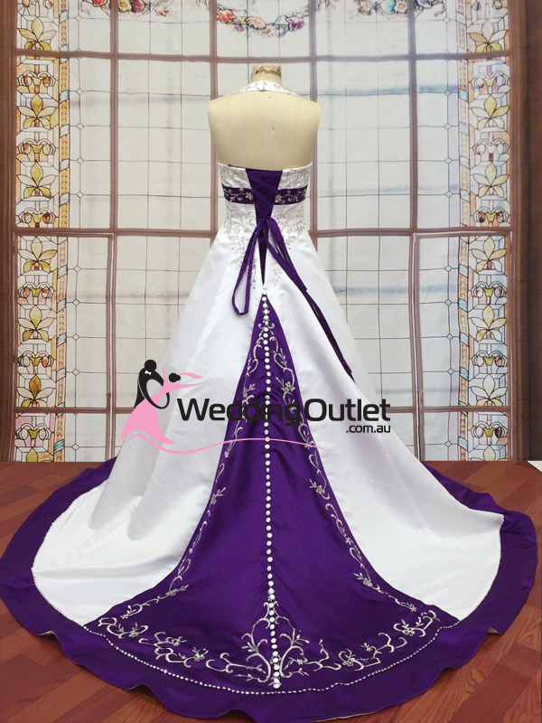 Liana Halter Neck Satin Embroidery Purple Wedding Dress ...