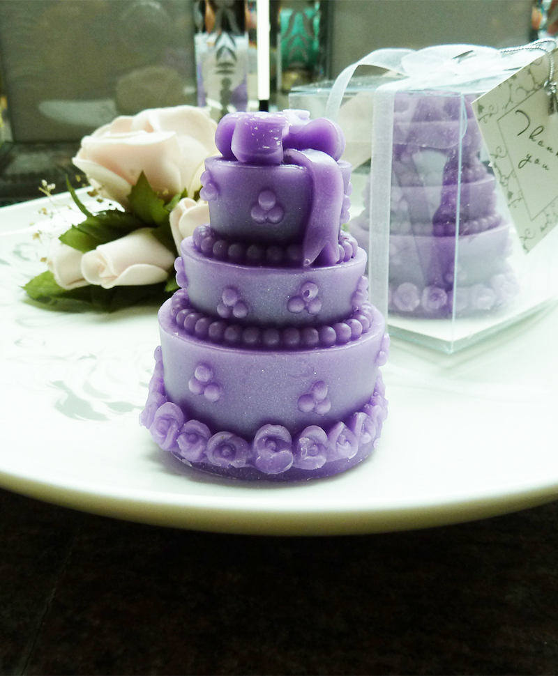 White Cake Candle Wedding Favour