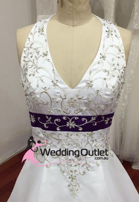 Liana Halter Neck Satin Embroidery Purple Wedding Dress