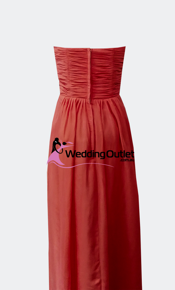 Red Strapless Bridesmaid Dresses Style #AB101