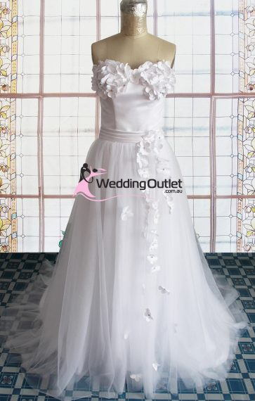 Rose wedding dress with floral appliques