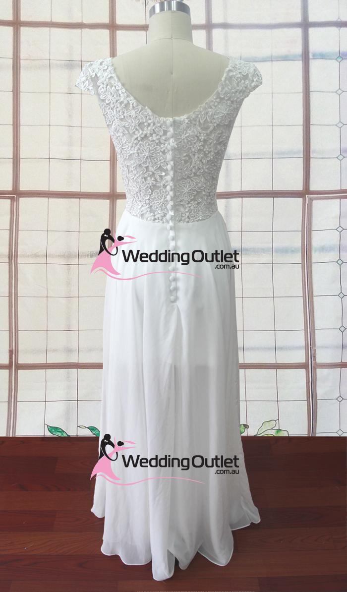 Madison knee length chiffon cap sleeve wedding dress for Wedding dress knee length with sleeves