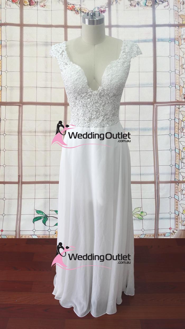 Madison knee length chiffon cap sleeve wedding dress