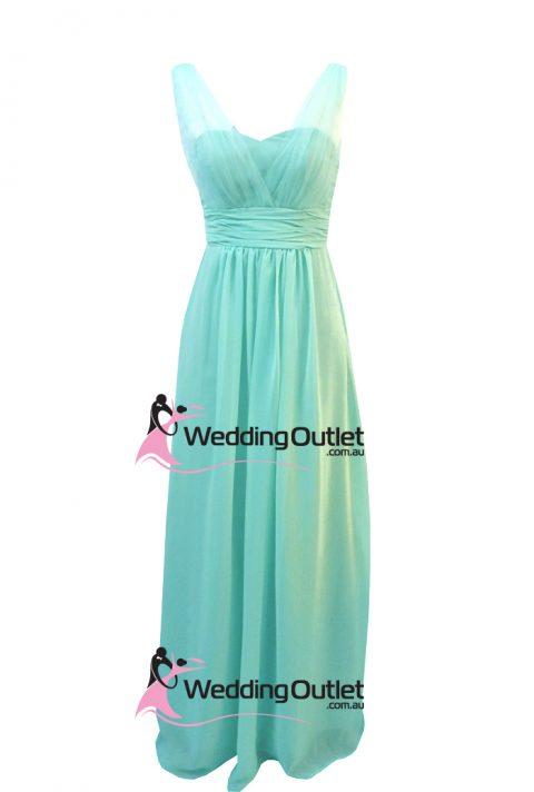 Aqua Tiffany Blue Bridesmaid Dress Tulle Sleeves Style #AK101