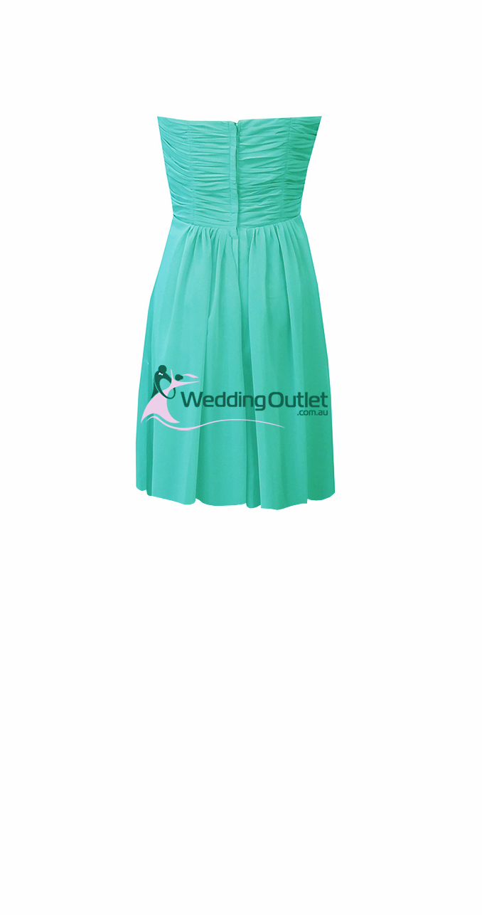 Turquoise Knee Length Short Bridesmaid Dresses Style #AB101