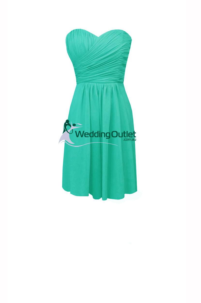 Turquoise Knee Length Short Bridesmaid Dresses Style #AB101 ...