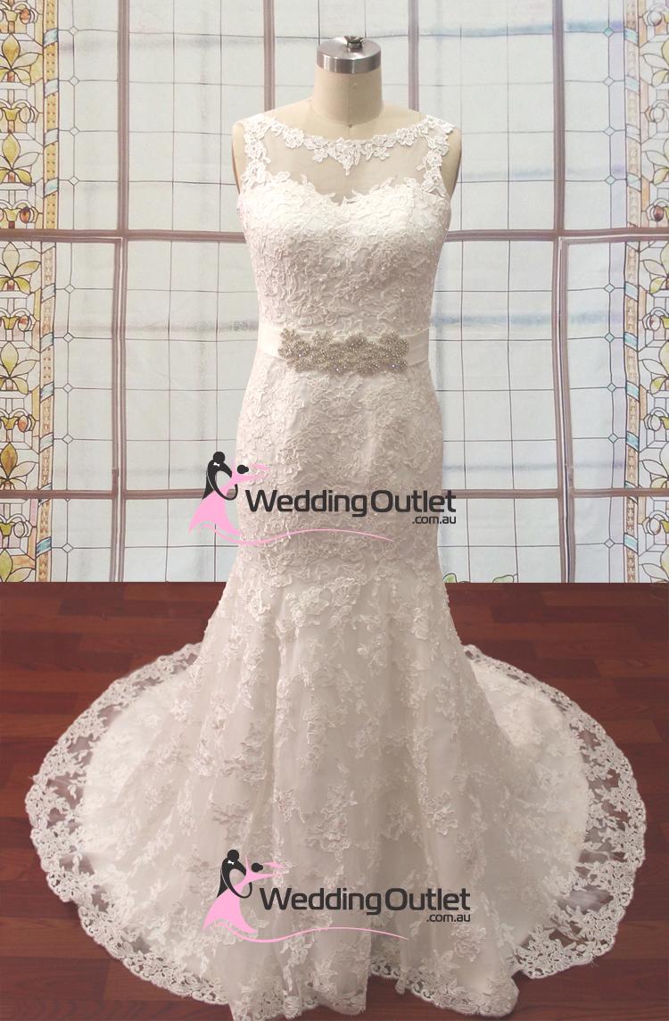 Srey boat neckline with sash wedding gown