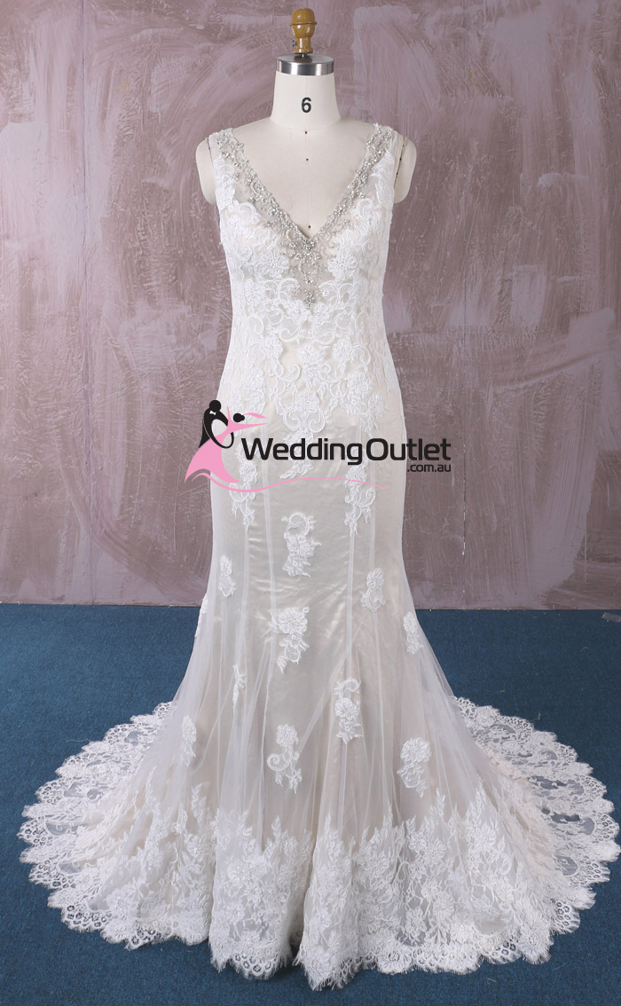 Peyton champagne vintage lace mermaid wedding gown for Vintage lace mermaid wedding dresses