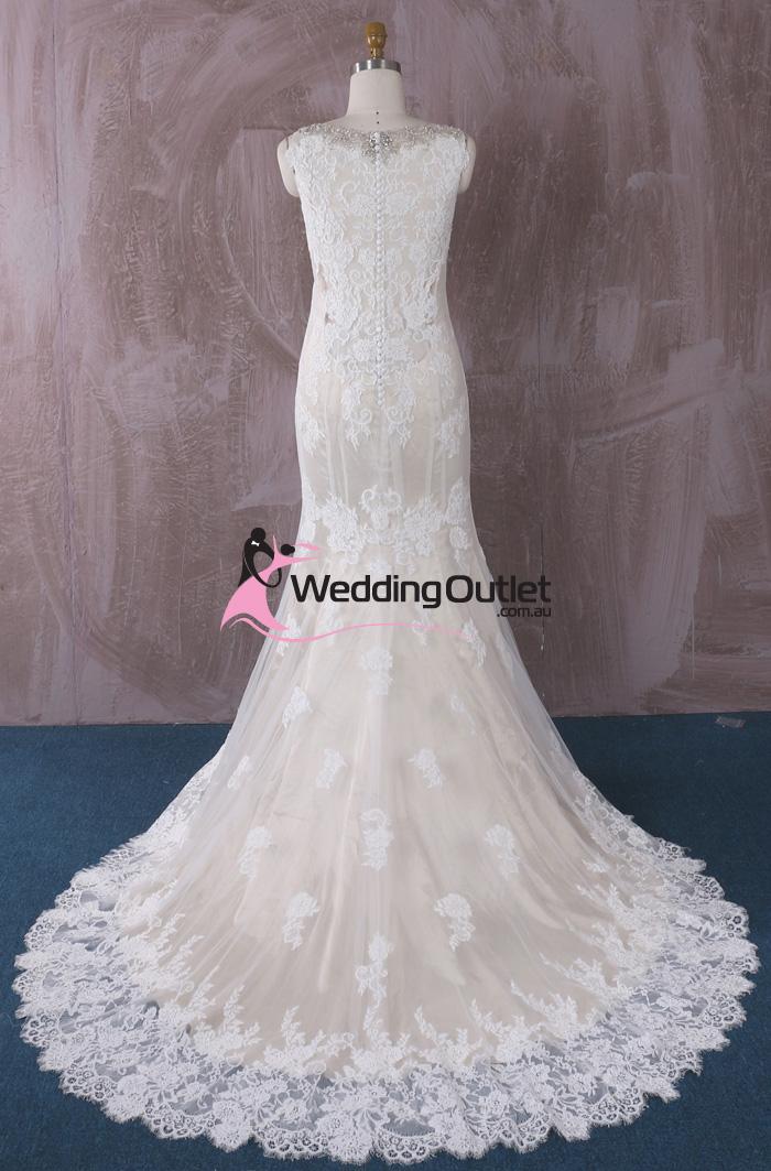 Peyton Champagne Vintage Lace Mermaid Wedding Gown - WeddingOutlet ...