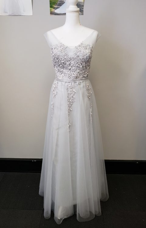 Silver Lace Evening Dress or Formal wear Style #Z1100