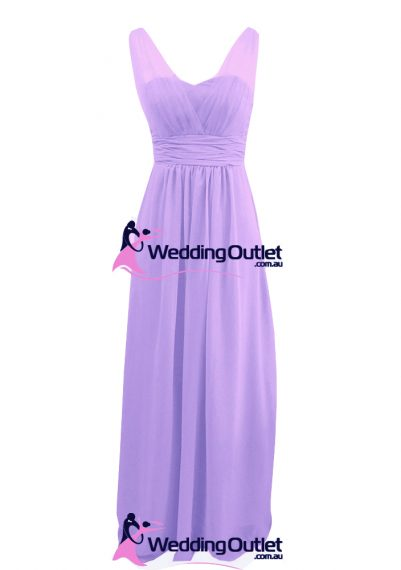 Lavender Purple Two Sleeves Bridesmaid Dresses Style #AK101