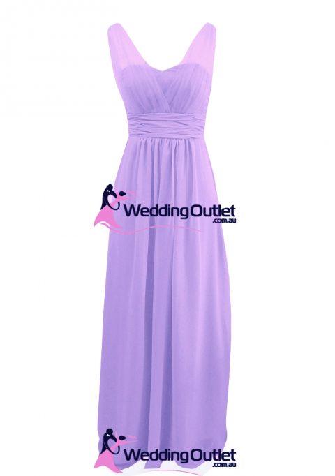 Lavender Purple Two Sleeves Bridesmaid Dresses Style #AK101