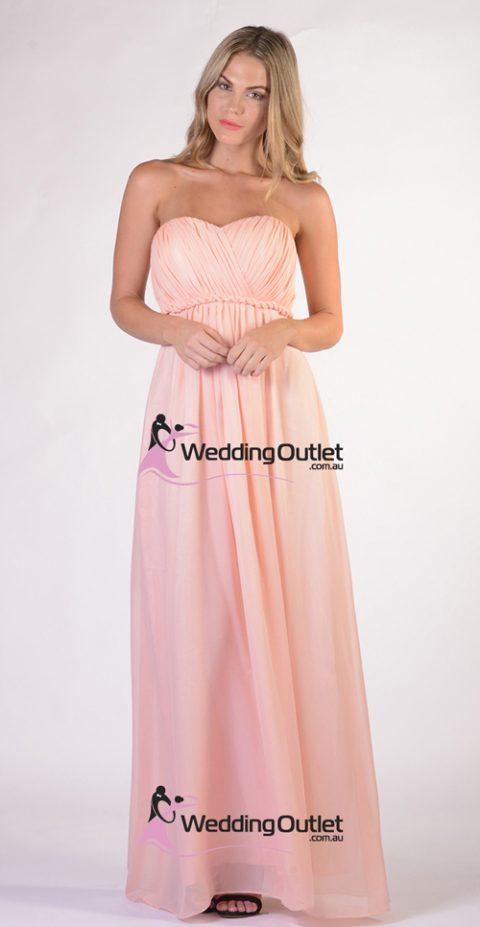 Peach Strapless Bridesmaid Dress Style #D101