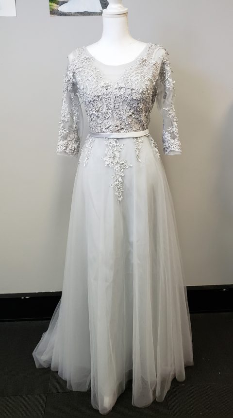 Silver Lace Long Sleeve Evening Dress Style #X1100