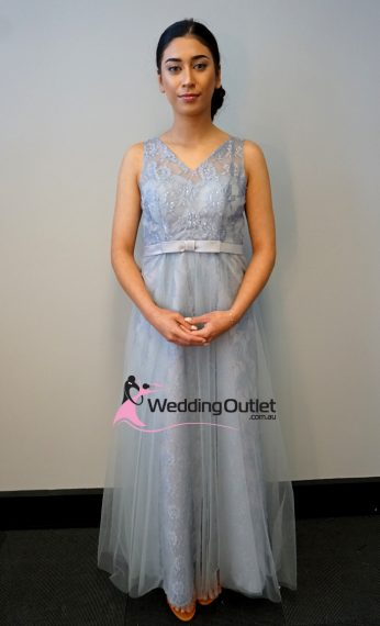 Silver Grey Lace Evening Dress with Tulle Overlay Style #AB1100