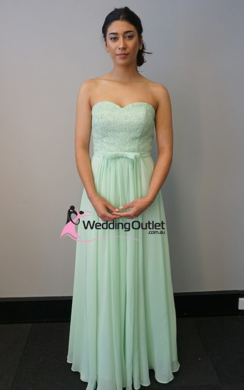 Baby Green Lace Strapless Bridesmaid Dresses Style #AN101