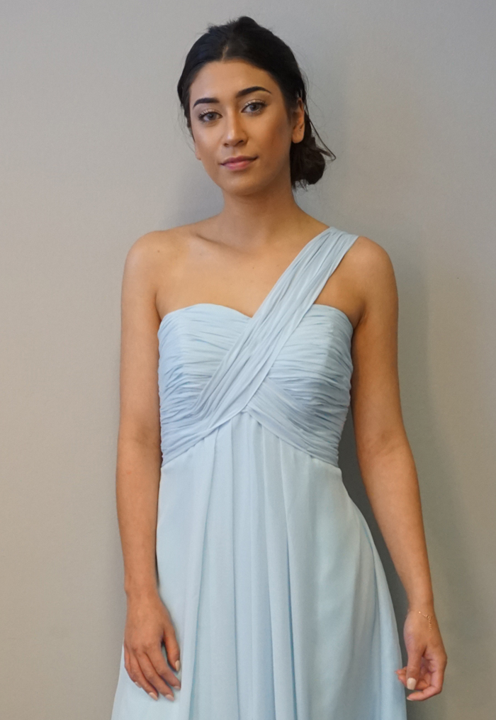 Misty Blue One Shoulder Bridesmaid Dress F101