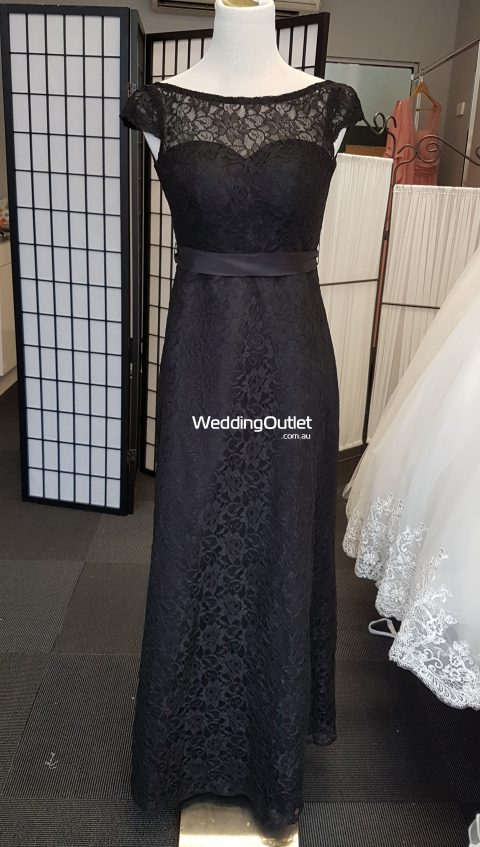 Black Lace Sleeved Bridesmaid or Mother of Bride Dress