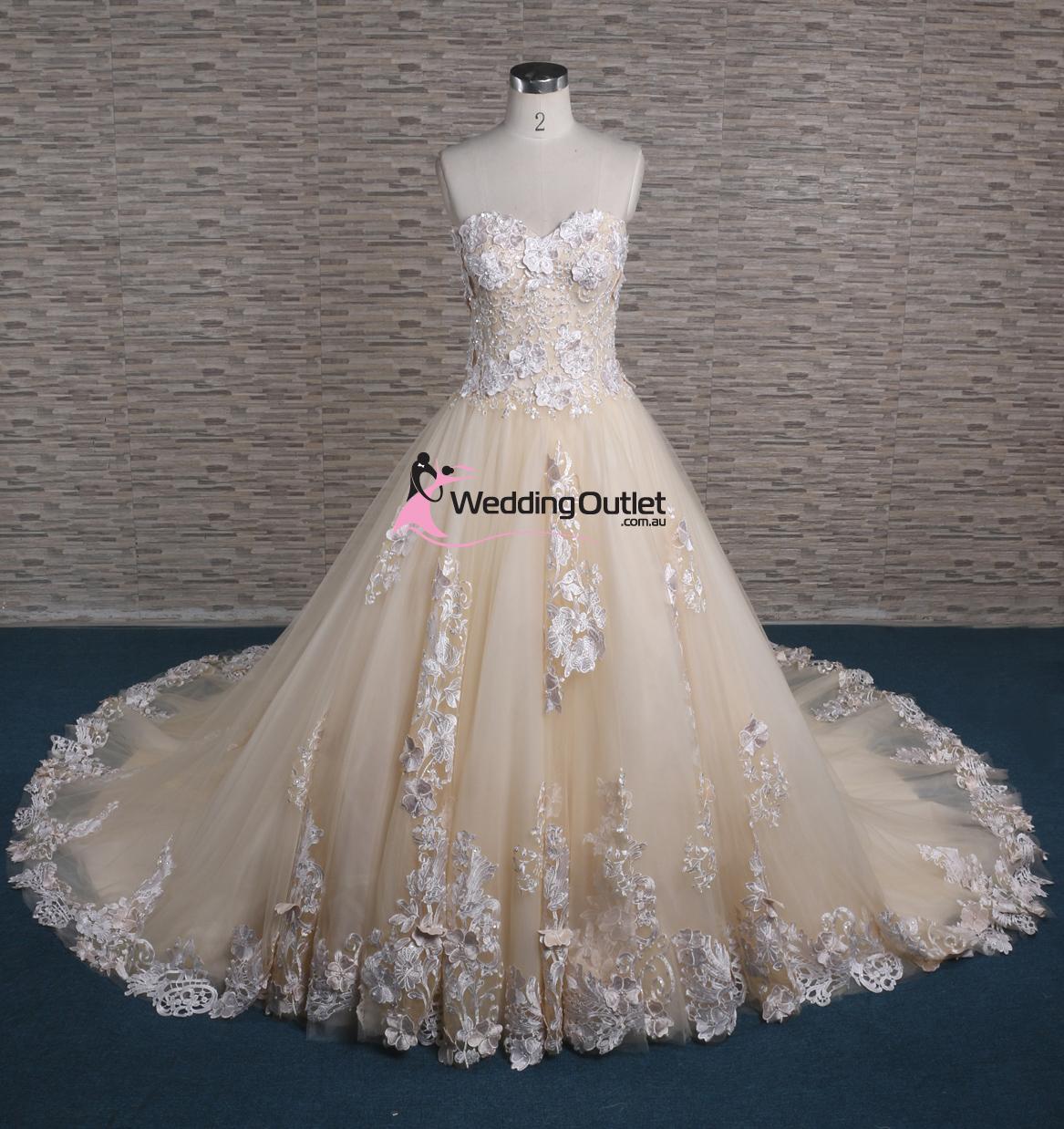 Ziggy 3D Lace Strapless Champagne Wedding Dress - WeddingOutlet.com.au