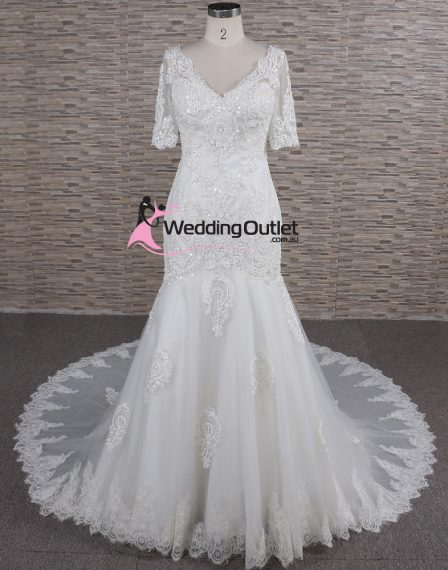 Cora Long Sleeve Lace Mermaid Luxury Affordable Wedding Dresses