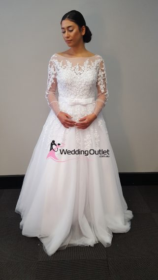 Camila Lace Long Sleeve Sequins and Beading Luxury Wedding Dress