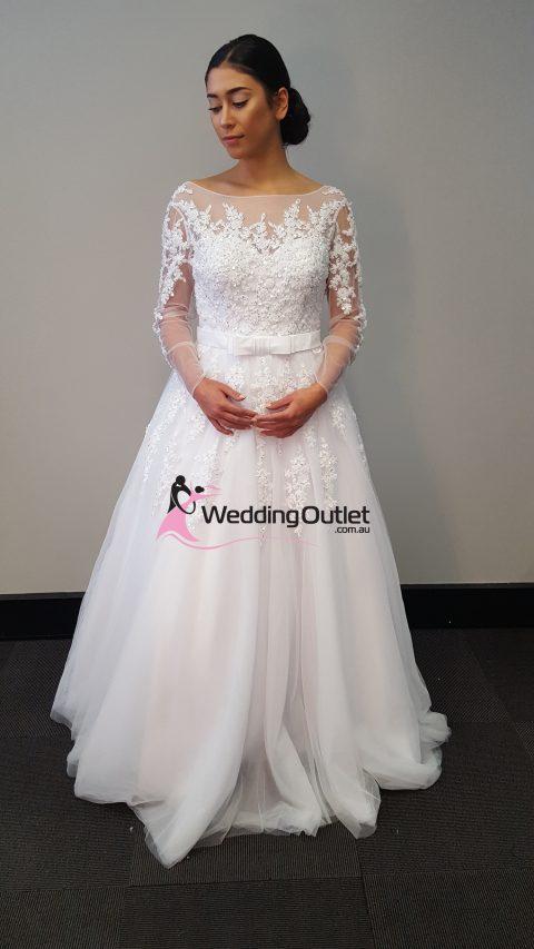 Camila Lace Long Sleeve Sequins and Beading Luxury Wedding Dress
