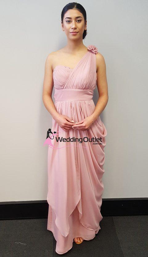 Tan One Sleeve Bridesmaid Dress Style #C101