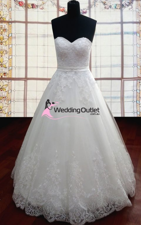 Piper Strapless Lace Wedding Dress with Sash