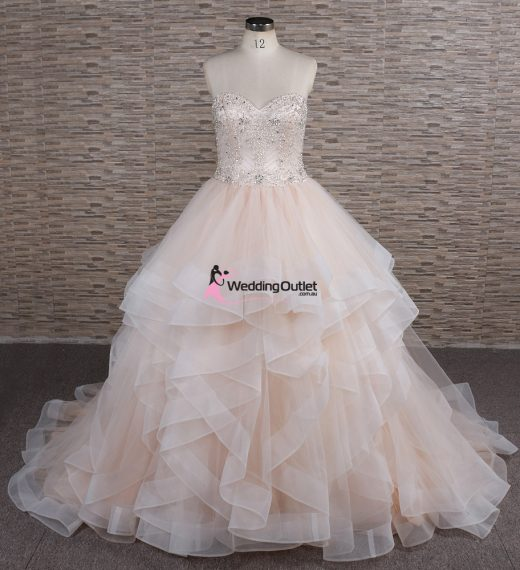 Arna Layer Ruffle Wedding Dress Champagne