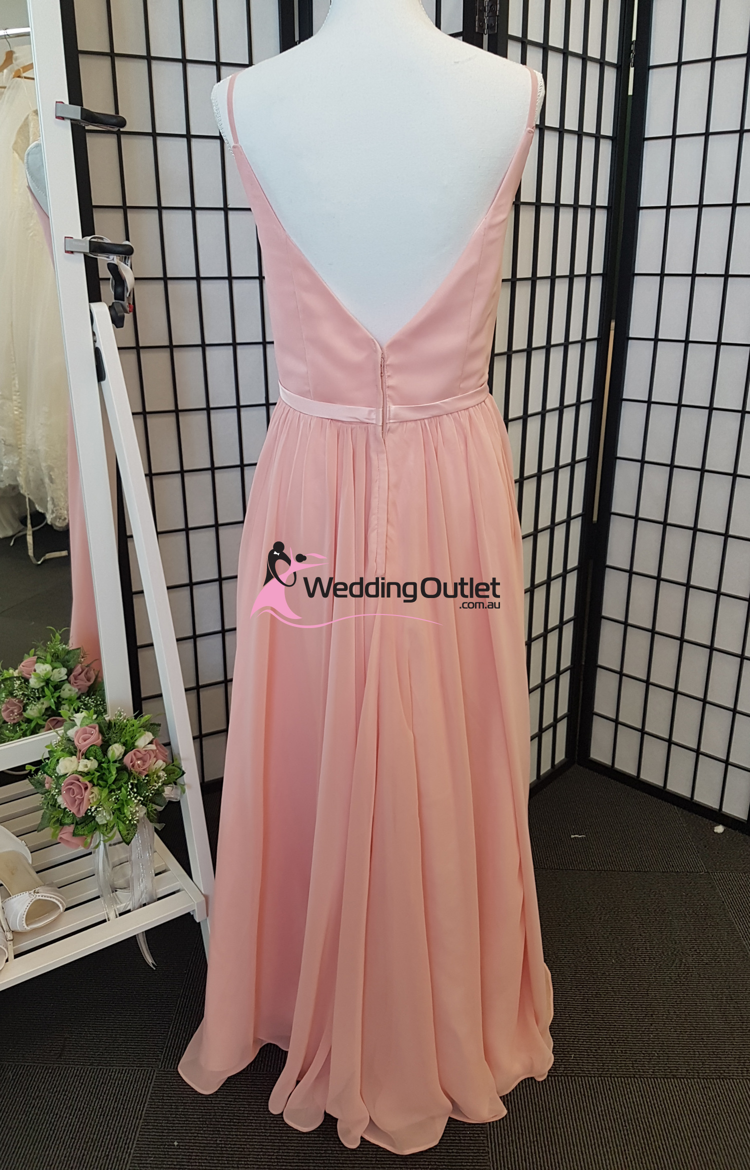 Rose bridesmaid dress v neck style rr101 weddingoutlet for V neck wedding dresses australia
