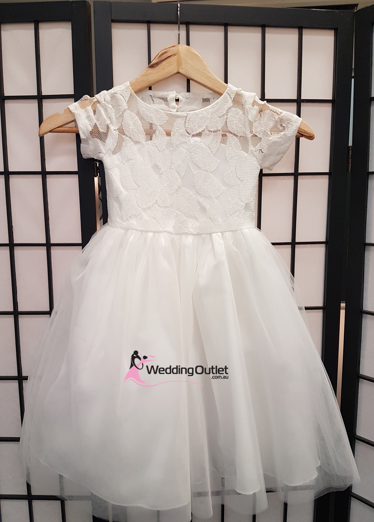 a4849f87585 Lace Flower Girl Dress with Sleeves Style  FL101 - WeddingOutlet ...
